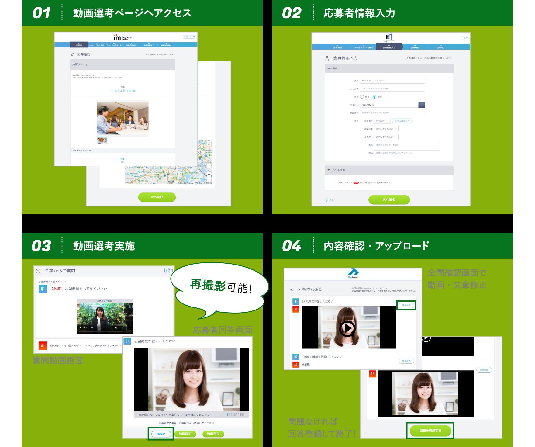 動画選考ページへアクセス / 応募者情報入力 / 動画選考実施 / 内容確認・アップロード